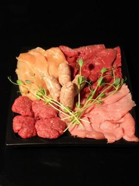 Plateau plancha nature présenté (veau,boeuf,poulet,porc)
