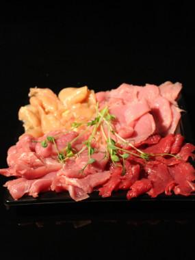 Plateau pierrade nature (veau, bœuf, poulet,porc)