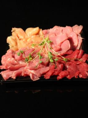 Plateau pierrade (veau, bœuf ,filet de caille ,mini burger)